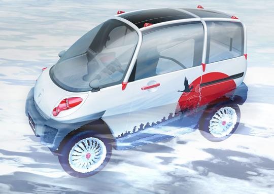Электромобиль Fomm Concept One в воде